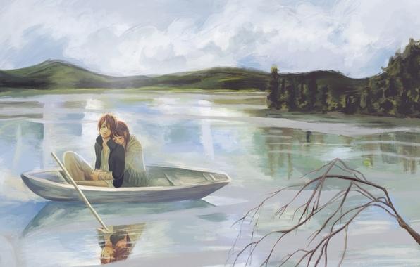 Picture girl, lake, boat, figure, branch, guy, yano motoharu, bokura ga ita, takahashi nanami