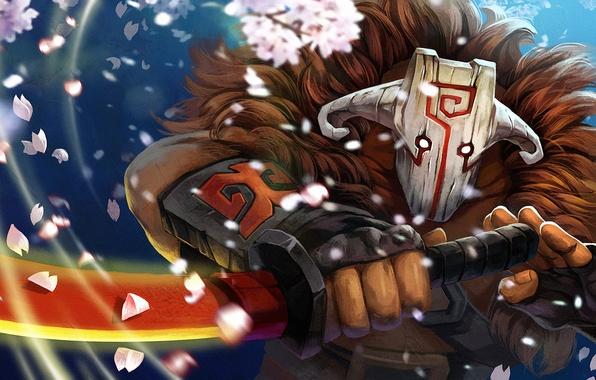 Picture sword, petals, mask, sakura, Dota 2, Juggernaut, yurnero
