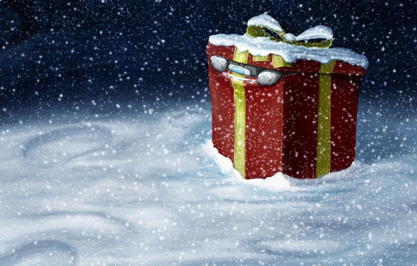 Picture gift, new year, Winter, Snow