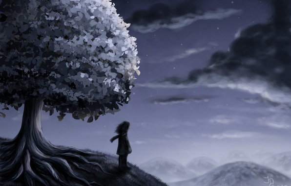 Picture stars, clouds, night, tree, people, hill, art
