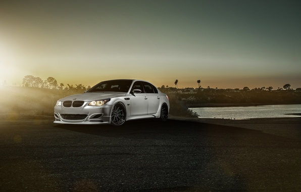 Picture BMW, Car, Carbon, Front, Sunset, Sunrise, Sport, Sedan, Fiber, Saloon, Balloon White, GTS60