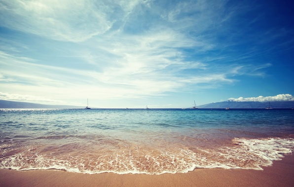 Picture sand, sea, the sky, water, clouds, landscape, nature, shore, yachts, sky, sea, landscape, nature, water, …