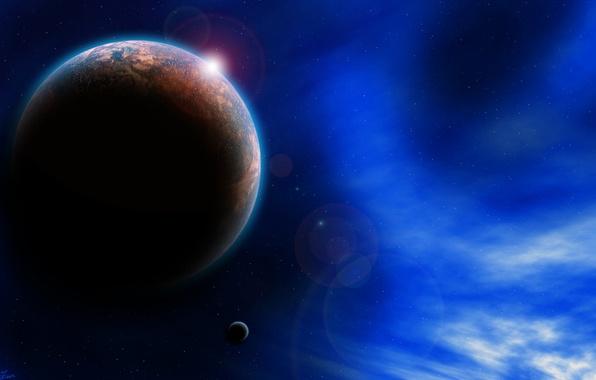 Picture the sky, stars, light, nebula, the universe, planet, satellite