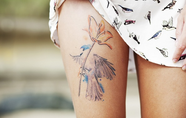Photo wallpaper tattoo, girl, feet