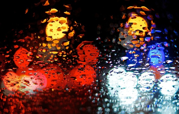 Picture water, drops, macro, blue, red, lights, background, rain, Wallpaper, wallpaper, widescreen, background, macro, bokeh, bokeh, …