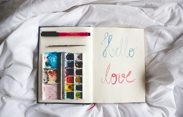 Picture text, paint, notebook, diary