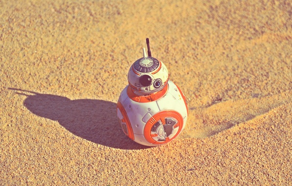 Picture sand, the sun, desert, shadow, Star Wars, The Force Awakens, BB-8