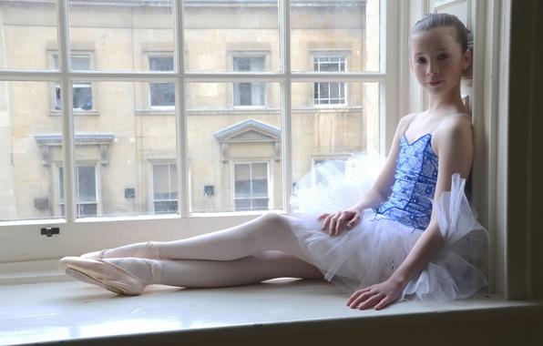 Picture window, girl, ballerina