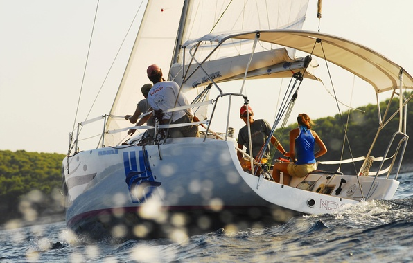 Picture sea, the way, people, the wind, yacht, sail
