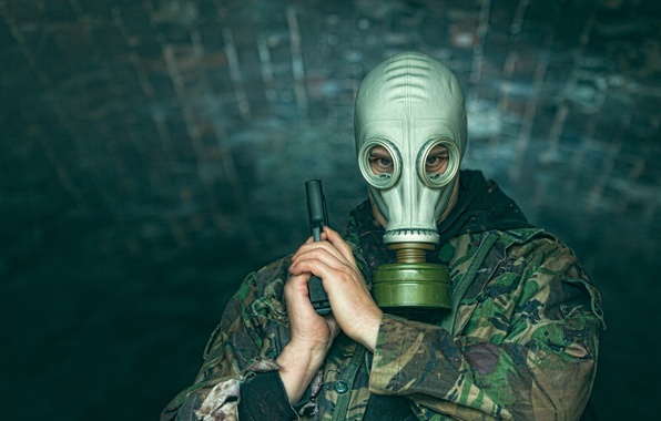 Picture look, gun, gas mask, male, camouflage