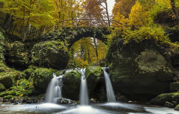 Picture autumn, forest, bridge, river, waterfall, cascade, Luxembourg, Luxembourg, the Black ernz river, Black Ernz river, …