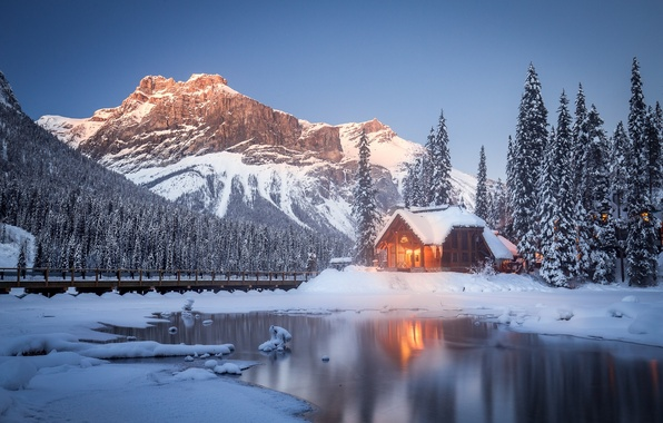 Picture winter, snow, trees, mountains, lake, Canada, house, Canada, British Columbia, British Columbia, Yoho National Park, …