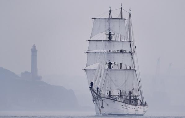 Picture sea, landscape, fog, lighthouse, sailboat