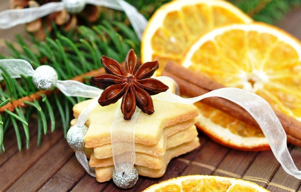 Picture orange, spruce, branch, New Year, cookies, Christmas, cinnamon, bump, star anise, Anis
