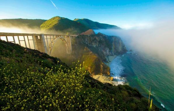 Picture sea, the sky, bridge, fog, rocks, coast, CA, USA, Sunny, Bixby Bridge