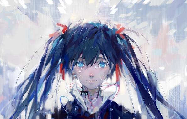 Picture girl, anime, art, vocaloid, hatsune miku, upscale, multi-monitors, dualscreen, tang elen