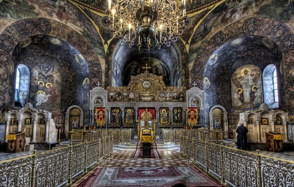 Picture hdr, chandelier, Church, the nave, the iconostasis