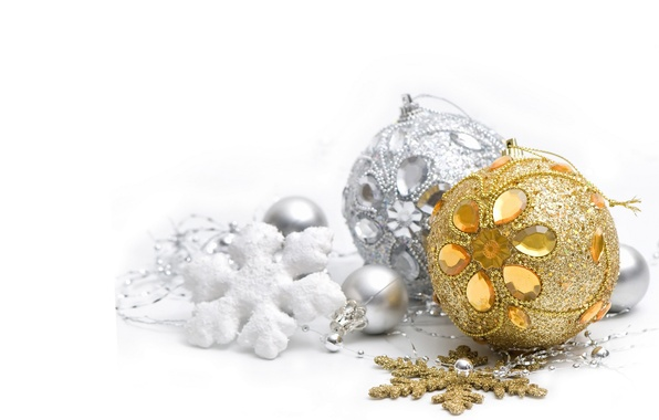 Picture balls, silver, New year, silver, gold, gold, Christmas, New Year, Merry