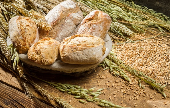 Picture wheat, bread, ears, millet, cakes, buns