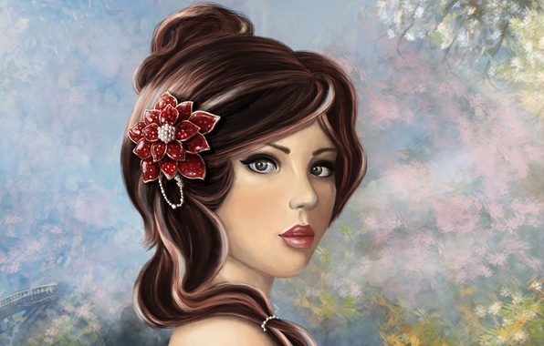 Picture flower, look, girl, decoration, face, makeup, art, hairstyle, lips, painting