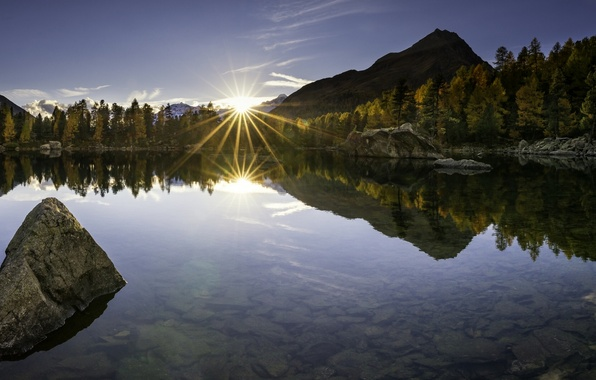 Picture autumn, sunset, mountains, lake, reflection, stones, the bottom, Switzerland, The Val Field, Lago di Saoseo, …