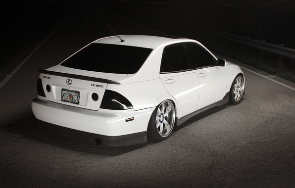 Picture road, white, tuning, Lexus, white, road, tuning, Lexus, night, back, is300