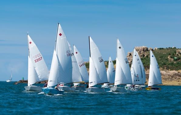 Picture sea, boat, yacht, sail, regatta, sailing