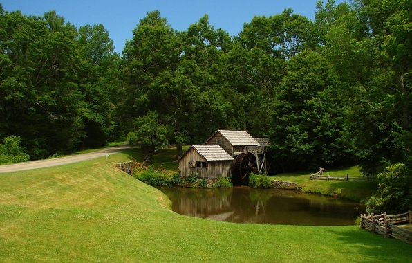 Picture road, field, forest, the sky, grass, pond, stream, wheel, mill, house, lawn