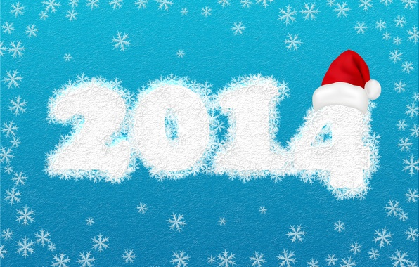 Picture snowflakes, holiday, new year, blue background, 2014