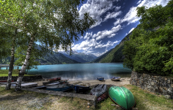 Picture clouds, trees, mountains, lake, shore, boats, Switzerland, hdr, Lake Poschiavo