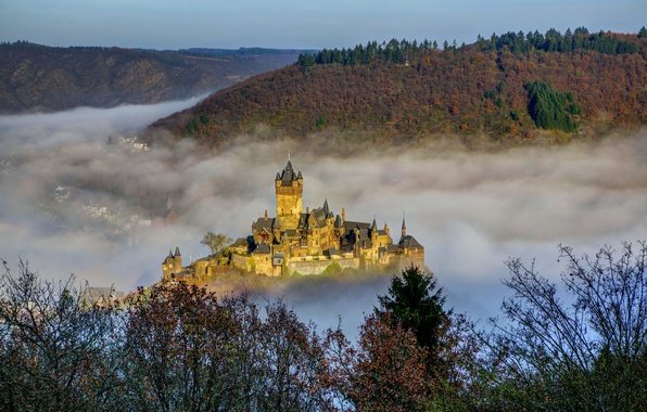 Picture the city, fog, photo, castle, Germany, Cochem, Castle