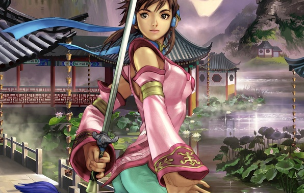 Picture girl, anime, warrior