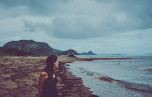 Picture waves, girl, beach, seaside, boat, cloudy