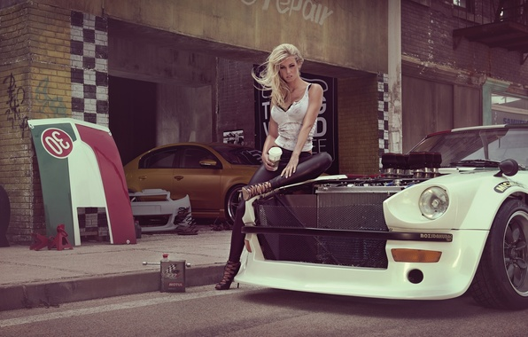 Picture machine, girl, sexy, model, garage, blonde, sexy, beauty, Datsun, January, Miss Tuning 2014, Leonie Hagmeyer-Rainger, …