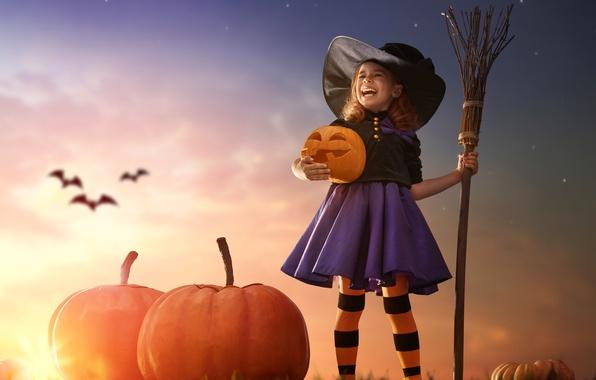 Photo wallpaper sunset, pumpkin, sunset, child, Pumpkin, Halloween, girl, Halloween, broom, bat, hat, girl