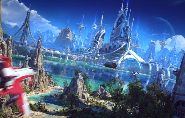 Picture beach, river, bridge, rocks, sand, palm trees, palace, Spaceship, sailboat, suna, vessel, futuristic world