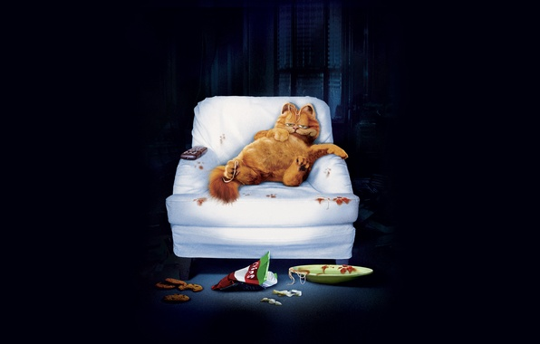 Picture cat, face, smile, darkness, sofa, chair, cookies, window, red, plate, remote, lies, Garfield, chips, pasta, ...