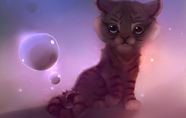 Picture bubbles, small, sitting, tiger, apofiss