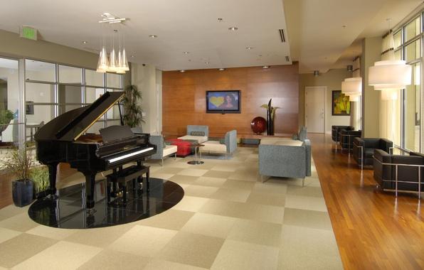Picture design, house, style, room, Villa, interior, piano