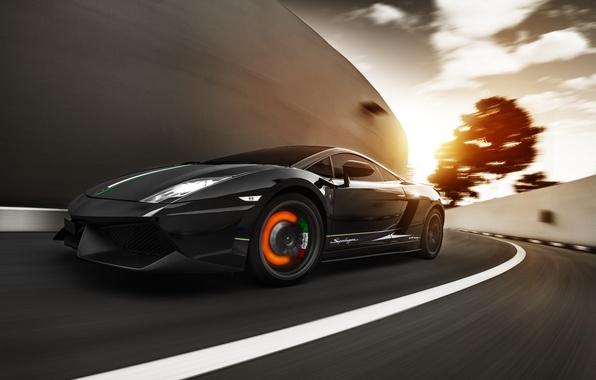 Picture speed, Lamborghini, Superleggera, Gallardo, sunset, LP570-4, brake disc, the intensity