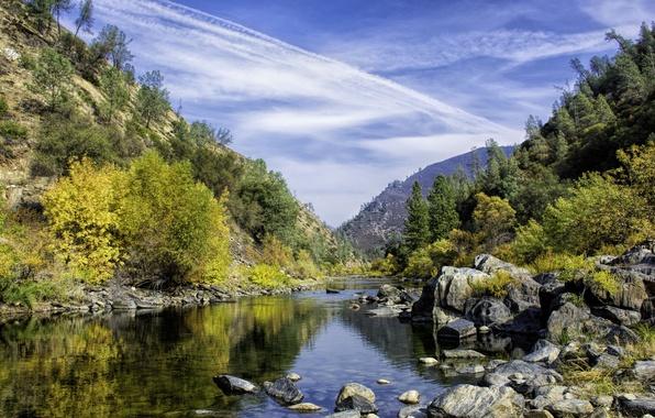 Picture autumn, the sky, trees, mountains, lake, stones
