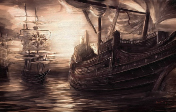 Picture sea, the sky, water, ships, sails, painting