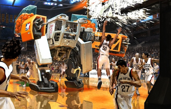 Picture machine, fragments, the game, robot, balls, art, basketball, broken, players, match