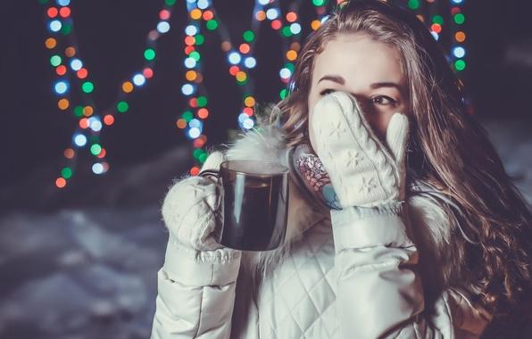 Picture winter, girl, mug, fun, mitten, hot drink