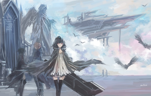 Picture the sky, clouds, birds, girls, wings, ships, angel, anime, art, statue, guy, swd3e2