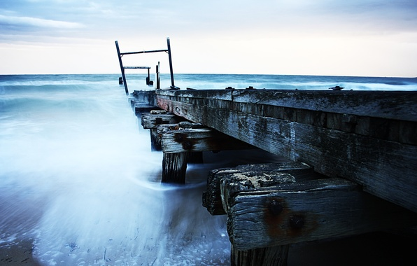 Picture sea, the sky, pier, pierce, old, weather, cloudy