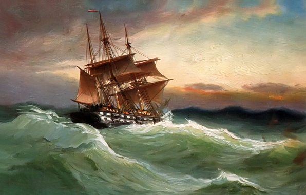 Picture sea, wave, the sky, landscape, storm, ship, picture, sails, Alfred Jansen