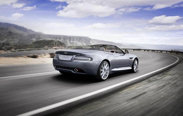 Picture The sky, Clouds, Auto, Convertible, Grey, Aston Martin, volante, AstonM Virage