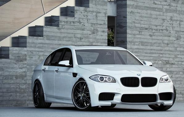 Picture white, bmw, BMW, white, f10, daylight, the grey building, sports sedan