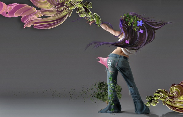 Picture BACKGROUND, GIRL, JEANS, VIEW, BACK, FLOWERS